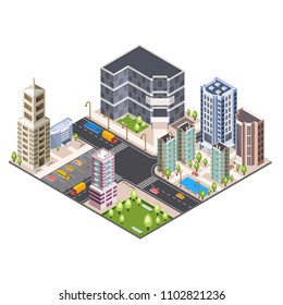 Skycrapper view of an isometric urban city. 3D projection.
