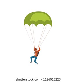 Skydiver descending with a parachute in the sky, parachuting sport and leisure activity concept vector Illustration on a white background
