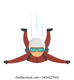Skydiver fall icon. Flat illustration of skydiver fall vector icon for web design
