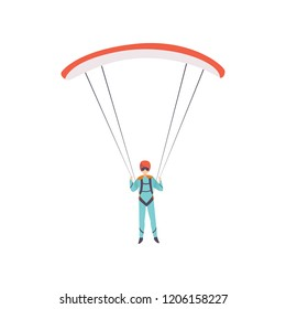 Skydiver flying with a parachute, extreme sport, leisure activity concept vector Illustration on a white background