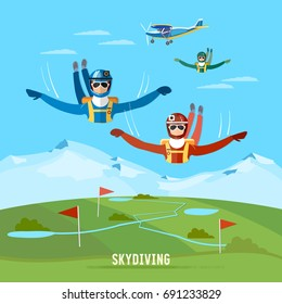 Skydiver jumps from an airplane vector. Teamwork extreme sport concept. Skydivers are falling above the cloud