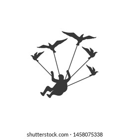 skydiver logo, flying man with birds, parachuting man with birds logo