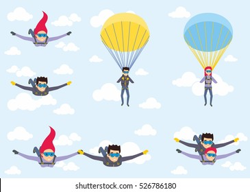 Skydiver man and woman flying in the blue sky. Set of parachutist characters with paratrooper