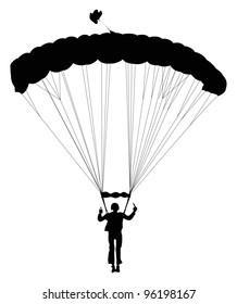 Skydiver on landing. Vector silhouette