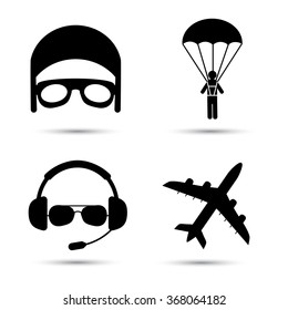 Skydiver on parachute, pilot, airplane silhouette. Black icons of aviator cap, parachutist and jet. Aviation profession. Vector illustration. Isolated on white