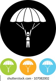 Skydiver on parachute - Vector icon isolated