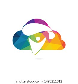 Skydiver with parachute and cloud icon vector logo design. Modern skydiver with parachute icon.