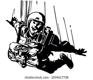 Skydiver - Retro Clip Art Illustration