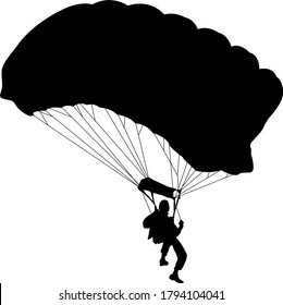 Skydiver, silhouettes parachuting on white background