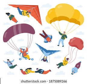 Skydiver sportsmen. Parachute extreme sport, sky jumpers, skydivers and paragliders. Parachute professional skydivers vector illustration set