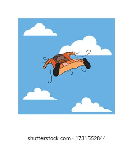 Skydiver in a wing suit glide and navigating through the sky and clouds, enjoying in adrenaline performing extreme sport, hand drawn cartoon illustration. Human in the air doing base jump stunts.