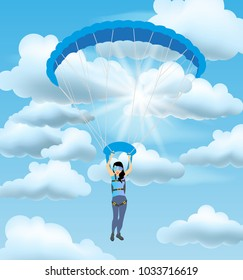 Skydiver woman flying in the blue cloudy sky. Vector female character illustration in flat style. Sky diving cartoon sportsman. Woman parachutist with paratrooper flying in the blue sky.