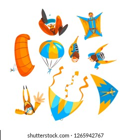 Skydivers flying with parachutes and hang gliders set, extreme parachuting sport, skydiving vector Illustration on a white background