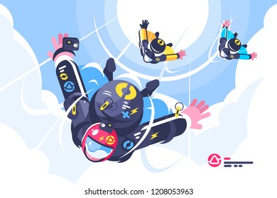 Skydivers group flying in the free fall. Cloudscape background. Freedom concept. Flat. Vector illustration.