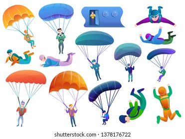 Skydivers icons set. Cartoon set of skydivers vector icons for web design