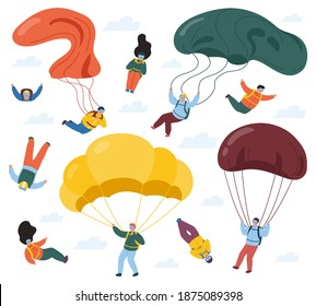 Skydivers with parachutes. Extreme parachuting and skydiving sport. People falling with parachutes. Sky jumpers vector illustration set. Extreme jump, parachute skydiving, jumper parachuting