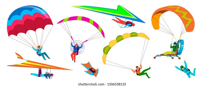 Skydivers. Skydiving adventure, people jump with parachute in sky, fly with paraglider and free flight. Cartoon vector extremely dangerous falling skydive characters