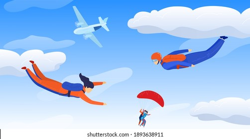 Skydivers sportsman in sky air, extreme sport vector illustration. Parachuting sport. Fun parachute jumping skydrivers from airplane. Active hobby. Sportsmen skydiving.