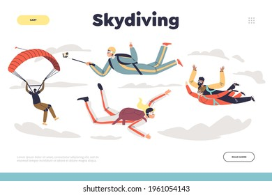 Skydiving concept of landing page with people jumping with parachute. Group of professional parachutists paragliding. Skydivers team parachuting in free fall. Cartoon flat vector illustration