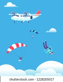 Skydiving concept. Parachutists jumping out of plane in blue sky. People skydivers vector illustration