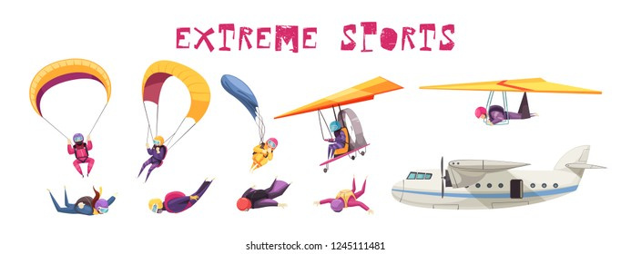 Skydiving extreme sport elements flat icons collection with parachute jump free fall airplane glider isolated vector illustration
