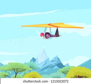 Skydiving extreme sport flat poster with free style hang gliding above oriental trees and mountains vector illustration