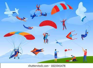 Skydiving extreme sport vector illustration set. Cartoon flat parachute skydiver sportsman characters jumping out of plane with parachutes, parachutist people skydive, danger adrenaline background