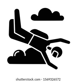 Skydiving glyph icon. Sky diving. Freefall tricks. Skydiver jumping with parachute. Air extreme sport flight stunt. Parachutist flying in sky. Silhouette symbol. Vector isolated illustration