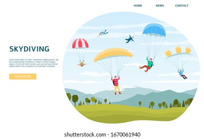 Skydiving horizontal web banner template with extreme sports sportsmen jumping with parachutes or paraplanners, flat vector illustration isolated on white background.