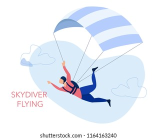 Skydiving and leisure activity concept. Skydiver flying with a parachute. Vector Illustration