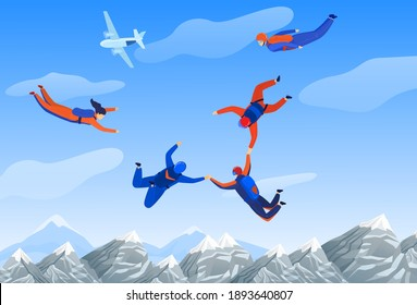 Skydiving man, extreme sport vector illustration. Parachuting sport. Fun parachute jumping skydrivers. Active hobby adventure. Sportsmen skydive and fly above mountains landscape.