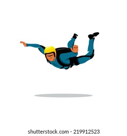 Skydiving man. Parachuting sport. Fun Parachute jumping concept. Active hobby sign. Branding Identity Corporate vector logo design template Isolated on a white background