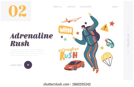 Skydiving Parachuting Sport Landing Page Template. Skydiver Male Character Jumping with Parachute. Parachutist Adrenaline Recreation, Extreme Summer Outdoors Activities. Linear Vector Illustration,