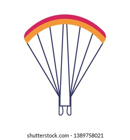 Skydiving and paragliding chute icon. Beach parachute isolated on white background.