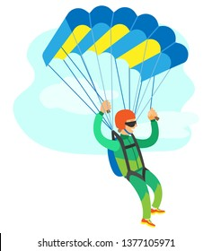 Skydiving poster, man in jumpsuit and helmet holding parachute, cloudy sky. Freedom jumping or dangerous sport, skydriver or sportman flying vector