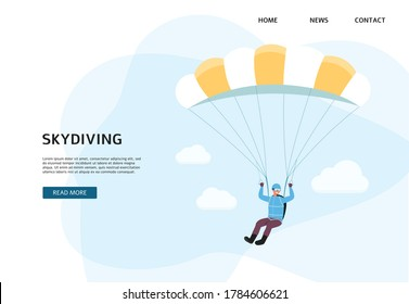 Skydiving school banner or landing page template with man character jumping with parachute, flat vector illustration. Parachuting and extreme sports club.