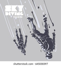 Skydiving. Sketch style
