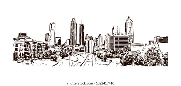 Skyline of Atlanta City in Georgia, USA. Hand drawn sketch illustration in vector.