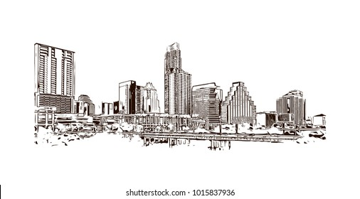 Skyline of Austin, Texas, USA. Hand drawn sketch illustration in vector.