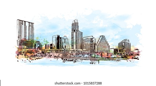 Skyline of Austin, Texas, USA. Watercolor splash with hand drawn sketch illustration in vector.