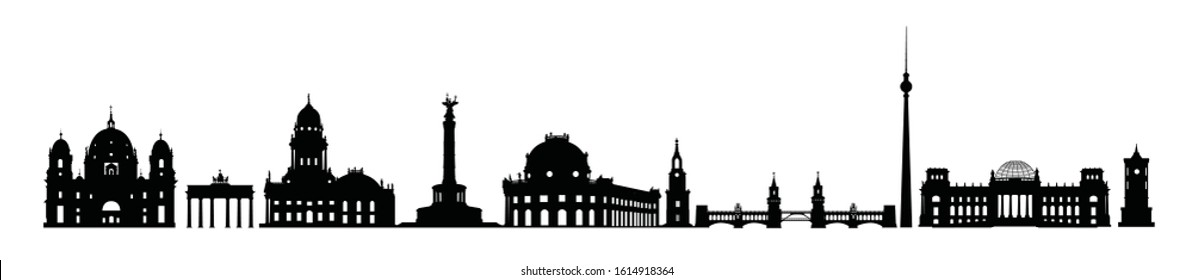 Skyline of Berlin city. Varius landmark icon silhouettes of Berlin, Germany. German traditional architecture