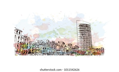 Skyline and buildings view of San Diego, City in California, USA. Watercolor splash with hand drawn sketch illustration in vector.