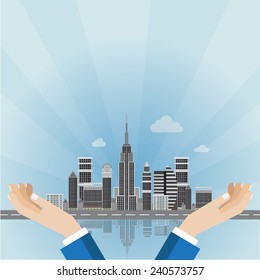 Skyline with Business hand cover cityscape design concept with vector EPS10