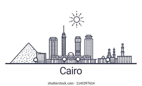 Skyline of Cairo city in linear style. Cairo cityscape line art. All buildings separated with clipping masks. So you can change composition and background.