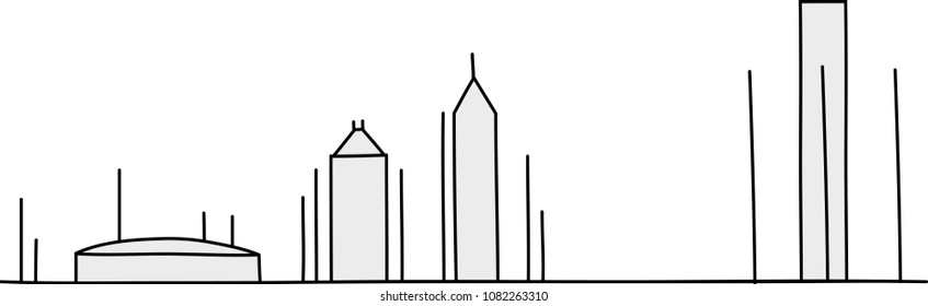 The skyline of the city of Detroit, Michigan, USA drawn in stick figure style.