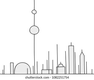 The skyline of the city of Toronto, Ontario, Canada drawn in stick figure style.