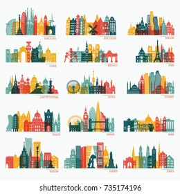 Skyline detailed silhouette set (Barcelona, Madrid, Rome, London, Vienna, Prague, Brussels, Istanbul, Lisbon, Moscow, Warsaw, Amsterdam, Zurich). Travel and tourism background. Vector illustration