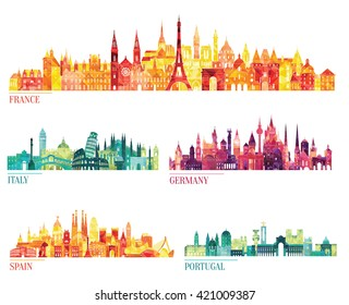 Skyline detailed silhouette set (France, Italy, Germany, Spain, Portugal). Vector illustration