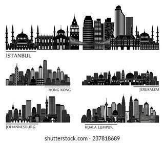 skyline detailed silhouette set (Istanbul, Hong Kong, Jerusalem, Kuala Lumpur, Johannesburg). Vector illustration