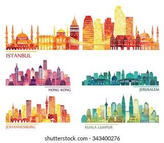 skyline detailed silhouette set (Istanbul, Hong Kong, Kuala Lumpur, Jerusalem, Johannesburg). Vector illustration